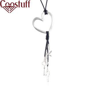 Kalp Anahtar Tüy Kuş Kadın bildirimi kolyeler siyah Uzun kolye kadın noel hediyesi collares mujer yakası gerdanlık