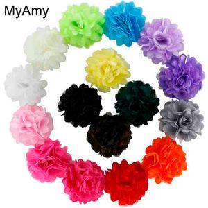 """MyAmy 100pcs / lot 2 """"Mini Petite Satin Mesh Fiori di seta Charlotte Tulle Puff Flower Head Hydrangea Accessori per capelli"""