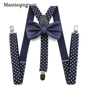 Mantieqingway Unisex Suspenders Bow Ties for Men Women Polyester Wedding Polka Dots Printed Bowtie Suspender Set Elastic Straps