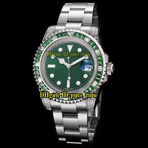 Ограниченная новая дата 40 мм 116610LV зеленый циферблат Япония Miyota 8215 автоматические мужские часы зеленый бриллиантовый безель Сапфир нержавеющая сталь ремешок часы