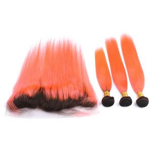 Paquetes brasileños del pelo humano de Orange Ombre Dark Root 1B con Frontals rectos Straight # 1B / Naranja Ombre 13x4 Cierre frontal del cordón con Weaves