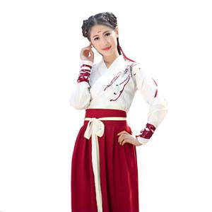 2019 Roupas de Dança Popular Chinesa Hanfu para Mulheres Traje Nacional Fada Vestido Dinastia Tang Antiga Trajes para Trajes de Palco