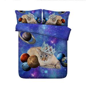 3D galáxia coroa gato cama Set filhote de cachorro capa de edredão colchas têxteis lar gêmeo Quilt Covers para meninas adolescentes Pillow Shams rainha do rei completo