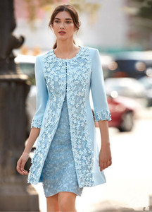Carla Ruiz 2018 Light Blue Mother Of The Bride Dresses With Jacket Sheath Knee Length Wedding Guest Dress Arabic Short Dress Evening Wear
