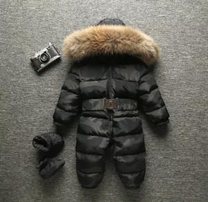 2018 зима младенца ромпер камуфляжный комбинезон комбинезон малыша мальчики девушки комбинезон утка вниз комбинезон с капюшоном реальный меховой воротник верхняя одежда детский снег