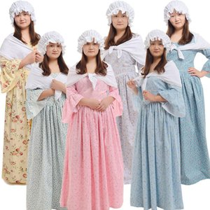 Costumes Renaissance médiévale Colonial Pioneer Pilgrim Adult Halloween Party Carnaval Femme avec robe à fleurs Bonnet Outfit Jaune / Bleu