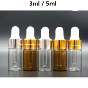 3ml 5ml mini Ambre Verre clair Huile Essentielle Mini Dropper Bouteilles Fioles Ambre Glass Container 0321