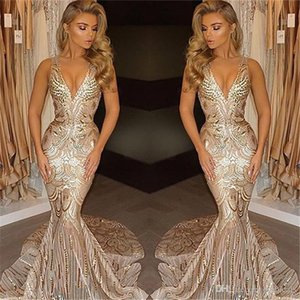 2019 Gold Mermaid Prom Dresses Deep V Neck Spaghetti Sweep Train Sequined Backless Illusion Bodice Long Evening Party Gowns Arabic