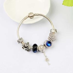 Pulsera pulseras de plata nueva pulseras del encanto los granos del cristal amor bloqueo 925 joyería brazalete de San Valentín regalo de DIY con la caja de regalo
