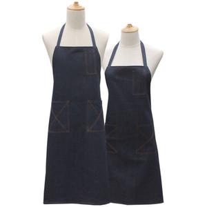 데님 앞치마 여성용 진한 파란색 주방 앞치마 남성 Delantal Cocina Avental Cozinha Coon 베이킹 용 매트 포켓 앞치마 앞치마