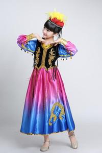 ازياء الأطفال ، والفتيات ، والرقص الهند ، والأزياء الويغورية ، والرقص شينجيانغ ، وتنورة الأطفال الوطنية الأرجوحة الكبيرة