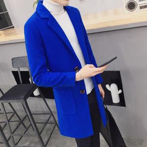 2018 marca fashion Tinta unita di alta qualità Manica lunga Uomo Il panno di lana Cappotto Giacca a vento da uomo
