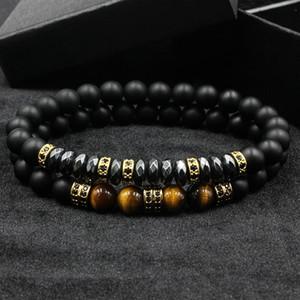 2pcs Norooni / set di marca nuovo modo della CZ degli uomini perline opache 8mm bracciale con ematite Bead Diy il braccialetto di fascino braccialetto gioielli e accessori