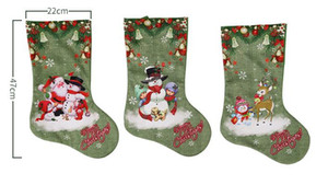 Christmas Party Large Stockings Deer Snowman Santa Claus Print Gift Bags Holders Xmas Long Socks present favor apple wrap