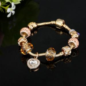 HOMOD Antik Gold Farbe Pandora Charm Armband Armreif mit Liebe Herz Kristall Anhänger Frauen Hochzeit Muttertag Geschenk
