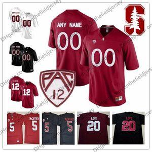 Personalizzato Stanford Cardinal Football Football Jersey # 5 Christian McCaffrey 7 John Elway 12 Andrew Luck 20 Bryce Love 86 Zach Ertz S-3XL