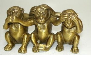 수집품 Brass See Speak 노 이블 3 Monkey statues big
