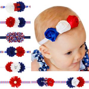 4 Luglio Festa dell'Indipendenza Fascia Fiore Bandiera Americana Fasce Per Capelli Bambini Chiffon Frilly USA Accessori Per Capelli Bandiera Nazionale All'ingrosso