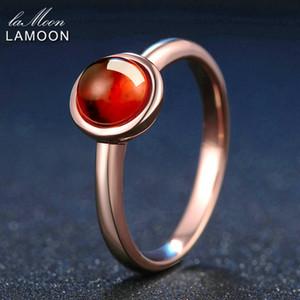 Lamoon clássico 6 milímetros simples 1.1ct 100% Natural Vermelho Garnet Anel 925 prata esterlina jóias casamento romântico LMRI026Y1882701 Banda