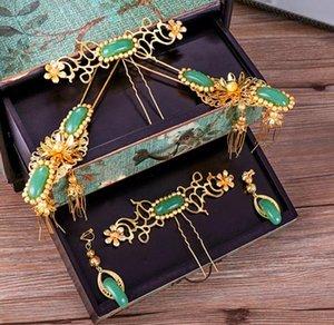2018 nuova giada di simulazione verde squisita, costume antico, copricapo, ornamento Qipao cinese, accessori classici