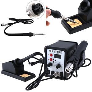 1 unids Kaisi-878D 220V 700W 2 en 1 SMD Estación de soldadura con pantalla digital con pistola de aire caliente + soldador (color negro)