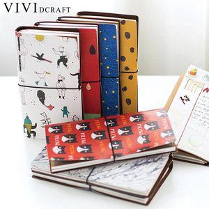 Vividcraft 일본어 창조적 인 귀엽다 귀여운 만화 DIY 노트북 가죽 바운드 여행 저널 일기 플래너 의제 선물 Caderno