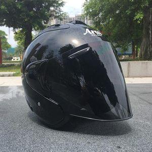 Motocicleta negra Media casco deportivo al aire libre hombres y mujeres Motocicleta Casco Casco Abra Face Dot Aprobado