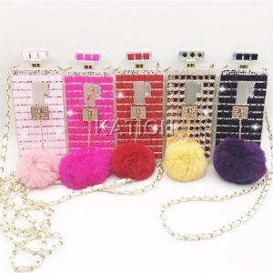 Caixas de strass cadeia de perfume de luxo para samsung s9 s9plus note8 casos s8 além de garrafa de perfume bola de pêlo de diamante casos de telefone colorido