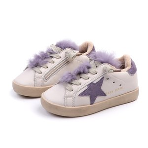 Winter New Fashion Baby Girl Sport Star Black Shoes Kid Warm Sneakers Children Genuine Leather Trainer