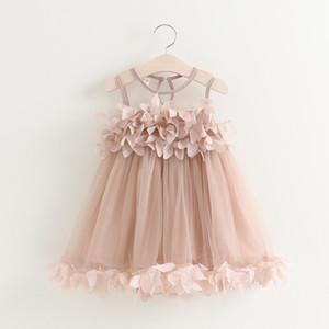 Malla de verano Chaleco Floral Bebé Princesa Vestido Lolita Ropa Sin Mangas Decoración Del Pétalo Partido Niños Ropa