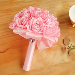 Rote Braut Wedding Bouquet Bunte Hochzeit Zubehör Künstliche Brautjungfer Blumenperlen Perlen Braut mit Blumen CPA1589