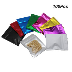 8,5x13 cm più colori frontale trasparente Zipper Foil Mylar Imballaggio sacchetti di materiale alimentare bagagli di alluminio richiudibile imballaggio del sacchetto con Notch