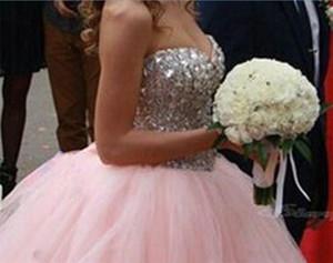 Hellrosa mit silbernen Kristallen und Pailletten Top Quinceanera Kleider sexy 16 Kleider schnüren sich oben zurück A-Linie Abschlussball Party Kleider DH337