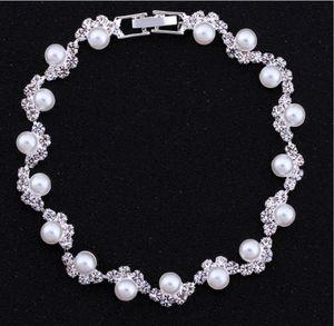 Venta barata perlas nupciales Adornado accesorios de cristal con cuentas pulseras nupcial accesorios de la mano cadena de la joyería nupcial
