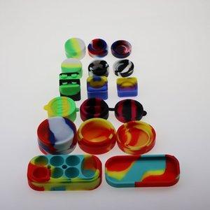 Contenitori in silicone antiaderente per cera 3ml 5ml 7ml 10ml 22ml 6 + 1 Contenitore per olio siliconico Contenitore quadrato in silicone trasparente Dab Wax Contenitore in plastica