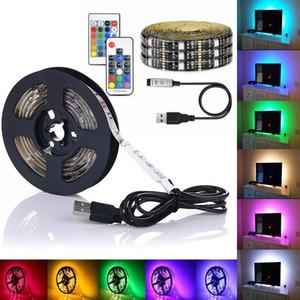 DIY 5050 RGB Tira CONDUZIDA À Prova D 'Água DC 5 V USB LED Tiras de Luz Fita Flexível 1 M 2 M 3 M 4 M 5 M adicionar Remoto Para TV fundo