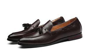 Moda Mocasines de borla Fondo Inferior de Cuero Genuino Caballero Moda Stress Zapatos Hombres Negocios Zapatos de Conducción 1h42