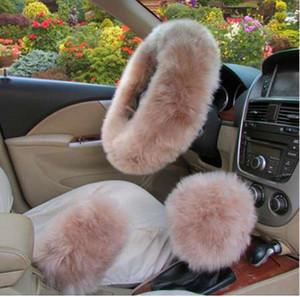 Dewtreetali 3 unids / set cubierta del volante del coche de invierno 12 colores larga piel de lana australiana cubierta de cuero genuino caliente