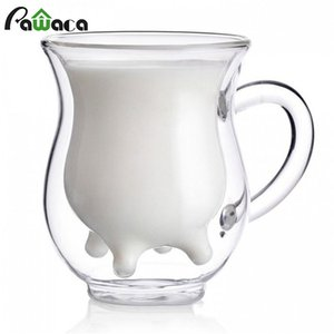 Cute Milk Mug Double Layer Heat-resistant Glass Cow Cups Clear Milk Cup for kids Drink Water Juice Coffee Mugs Container