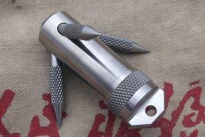 TITANER Titanium Ti EDC Survival Kit Cápsula de la píldora de almacenamiento a prueba de agua Contenedor YT40 Gancho de agarre Camping