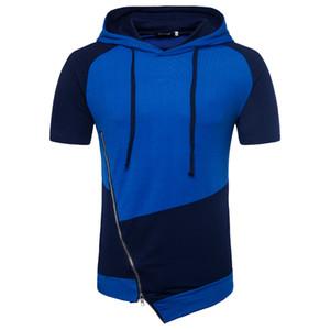 Новые летние мужские футболки уличная одежда нерегулярные молния дизайн хип-хоп рубашка с капюшоном High Street Style Mens Basic Tee M-2XL