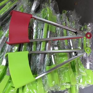 Venda quente 2-em-1 inteligente espátula Tong cozinha espátula pinças antiaderente resistente ao calor grampo do alimento aperto acessórios de aço inoxidável WX9-451