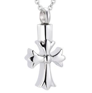 Crémation Urne Neckalce Fleur Croix Frêne Souvenir Bijoux Unisexe Acier Inoxydable Frêne Bijoux