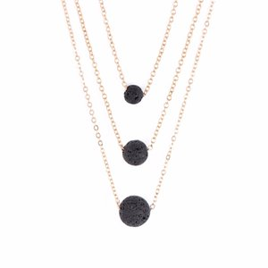 Shellhard Chain Rock Beads Necklaces Shellhard Black Lava Stone Essential Oil Diffuser Pendant Necklace Unisex Fashion Jewelry