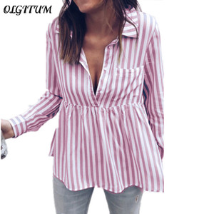 2018 New Fashion Striped Casual Long-Sleeved Ladies Shirt Top Sexy V-neck Slim Waist Button Tops Women Blouse 4 Colors