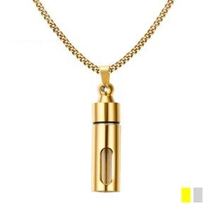 Moda perfum uçucu yağ difüzör kolye 43mm cam içinde paslanmaz çelik açık altın kaplama Küba link zinciri madalyon erkek kolye