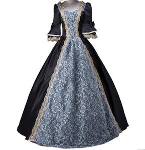 Bayan Kraliyet Vintage Ortaçağ Elbiseleri Lady Saten Gotik Masquerade Elbise