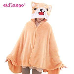 Lovely Corgi Dog Plush Cloak Capa de dibujos animados suave Anime Soft Hoodie Pijamas Animal Manta Warm