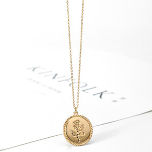 SRCOI Dainty Gold Color Rose Collar Colgante Redondo Geométrico Cadena Gargantilla Gargantilla Collar Partido de Las Mujeres Medallón de Joyería de Moda
