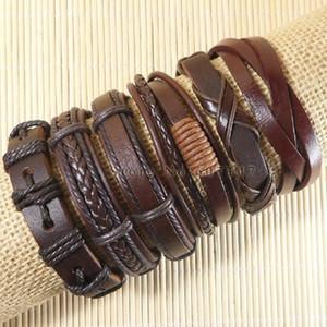 6pcs hecho a mano de pulsera de los hombres verdadero encanto de cuero marrón para las mujeres 2018 de la moda brazalete ajustable femme pulseira masculina
